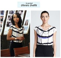 """What Olivia Pope wore in Molly, You In Danger Girl. popdetour:  Kerry Washington as Olivia PopeinScandal - """"Molly, You in Danger, Girl"""" (Ep. 218). Olivia's Outfit: Escada Plaid Painted Blouse $525here 