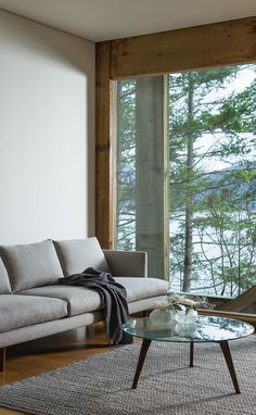 A room with a view [of awesome furniture] // window wall // grey sofa Living Room White, White Rooms, Home Living Room, Living Room Furniture, Small Living, Interior Exterior, Interior Architecture, Interior Design, Living Room Inspiration