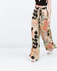 Image 3 de Pantalon fluide imprimé de Zara