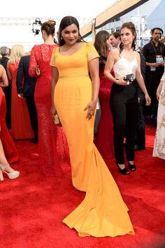 Mindy Kaling in Salvador Perez dress and Edie Parker clutch at the 2015 Emmys. See what all the stars wore to the ceremony.
