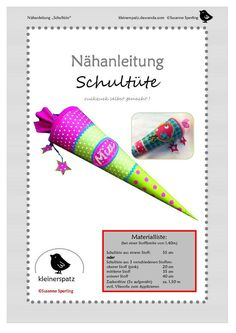 Sewing instructions, Schultüte ruckzuck - Fabric Crafts for Diy and Crafts Sewing Projects For Kids, Crafts For Kids, Sewing Tutorials, Sewing Patterns, Sewing Toys, Art Wall Kids, First Day Of School, Diy Hacks, School Bags