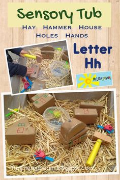 My Little Sonbeam: October Week 4 - alphabet letter h sensory tub. H is for hay, hammer, house (homes), holes and hands. Letter Hh craft and activity ideas. Mylittlesonbeam.blogspot.com Homeschool preschool learning activities and weekly lesson plans.