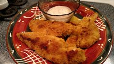 BBQ BACON CHICKEN FINGERS - 2 - 8oz Chicken Breasts, butterflied and cut into strips (I try to get them even in thickness so they cook at the same rate), 2 - IP BBQ Soy Chips, 1 T. WF Bacon Dip, IP Salt to taste. Place chicken strips in a bowl with the Bacon Dip, mix. Pulverize the BBQ Soy Crisps into fine crumbs. Press the fingers into the crumbs so they are entirely covered. Place on an olive oil misted cookie sheet.