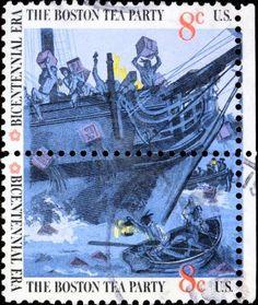 Boston, Massachusetts,  1773 - Boston Tea Party on a postage stamp Stock Photo