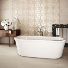 Time for some decorating updates in your home? Beige in colour, these Evoque Sabbia NaturalTiles have a realistic stone effect design; perfect for bringing the natural look into your interiors. White Wall Tiles, Grey Floor Tiles, Porcelain Tile Cleaner, Hotel Foyer, Wall Tile Adhesive, Shabby, Clawfoot Bathtub, Corner Bathtub, Modern