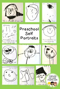 preschool-self-portraits beginning and end of the year