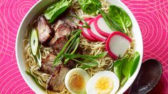 Hawaiian noodle soup (saimin) | This dish combines the best of Hawaii's Japanese, Chinese and Filipino influences. Usually a fast food, this noodle soup also allows for invention – add and remove ingredients as you please. The only two essentials are noodles and sticky barbecued Chinese pork.