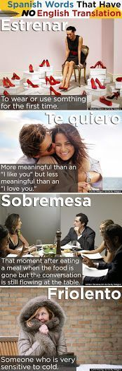 Did you know?! These Spanish words have no English translation // Estrenar/ Te Quiero/ Sobremesa/ FRIOLERO!!
