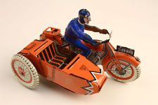 Antique 1930s Tin Litho Motorcycle with Sidecar Toy Paris SFA France VG