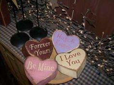 primitive valentine decor | PRIMITIVE VALENTINE BLOCK SIGN~~SWEETHEART HEARTS~~LOVE