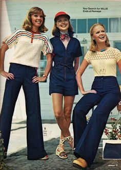 Denim was one of the most popular textiles of the 70's. Everything came in denim. Shown here are denim jeans and a short, denim jumpsuit. Denim bridged the gap between generations and social classes.