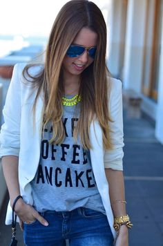 Grey tee - white blazer - denim - neon necklace.  women's fashion and style. t-shirt + statement necklace.