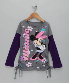 Take a look at this Smoking Gray & Fall Plum 'Minnie' Layered Tee by Disney on #zulily today!