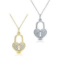 Auriya 14k Gold 2/5 TDW Diamond Heart Lock Pendant Necklace