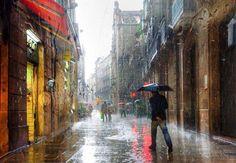Walking in the rain....... @ Barcelona II by Edward Gordeev