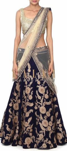 Buy this Navy blue lehenga adorn in zardosi embroidery only on Kalki