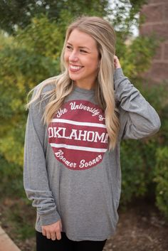 OU Pin unisex long sleeve t-shirt grey. A best selling retro design is now…