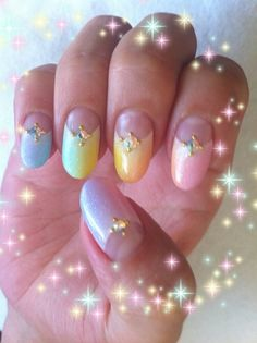 pastel modified french tip nails I don't normally do nails - but these are adorable!!!