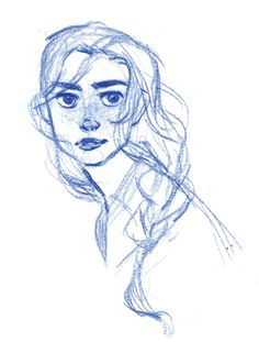 """Early development sketch of Hilda, heroine of my version of the """"east of the sun, west of the moon""""."""