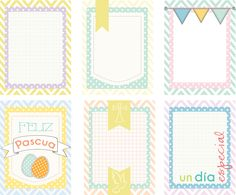 Gratis imprimible de tarjetas para project life, gratis tarjetas colores pastel... free printable spanish and pastel colors.