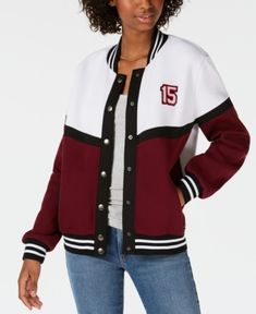 Juniors' Letterman Snap Jacket - Pink S Say What? Juniors' Letterman Snap Jacket - Pink S Letterman Jacket Outfit, Cotton Jacket, Jackets Online, Online Shopping Stores, Hooded Sweatshirts, Hoodies, Cute Outfits, Vests, Girl Clothing