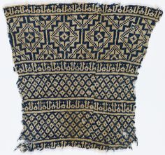 Fragment of a garment knitted in deep blue and white thick cotton yarn, with broad bands of geometric pattern separated by narrow bands of Kufic script repeating the name of Allah. Knitting Charts, Knitting Socks, Loom Knitting, Hand Knitting, Knitting Patterns, Textiles, Knit In The Round, Fair Isle Knitting, Vintage Knitting