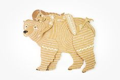 Bear and Girl - Articulated Paper Dolls by Dubrovskaya. Kraft paper, hand painted, MADE To Order.