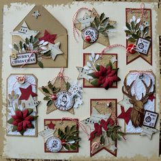 Love the pop of red and white on the craft. It looks so festive and cheery! Christmas Paper Crafts, Christmas Gift Tags, Xmas Cards, Handmade Gift Tags, Ideias Diy, Candy Cards, Christmas Scrapbook, Scrapbook Embellishments, Card Tags