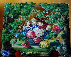 Victorian large scrap children in garden