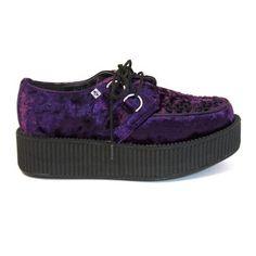 T.U.K. Creeper - Purple Velvet Chunky Platform Oxford
