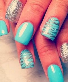 Blue Nails Art For Girls 2014
