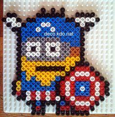Captain America Minion hama perler beads by Deco.Kdo.Nat