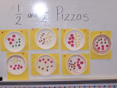 First Grade Fractions -  1. Create Pizzzas, whole, half, third, or fourths 2. Write a sentence saying... I have (fraction) (type of pizza)....  ex: I have 1/2 pepperoni and 1/2 cheese.
