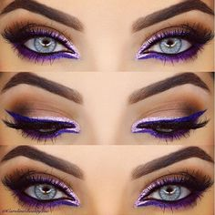 Eine Zusammenfassung unserer bevorzugten farbigen Eyeliner-Looks This purple graphic eye by is so striking. She used NYX's Extreme Purple Liquid Liner, and added Liquid Crystal Pink Liner for that sparkle. - Schönheit von Make-up Makeup Goals, Love Makeup, Makeup Inspo, Makeup Inspiration, Beauty Makeup, Hair Makeup, Makeup Ideas, Makeup Tutorials, Gorgeous Makeup