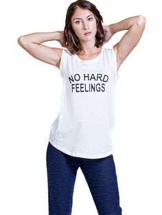 "Women's ""No Hard Feelings"" Muscle Tee by Nala Los Angeles (White) #InkedShop #wordtee #womens #tee #sleeveless"