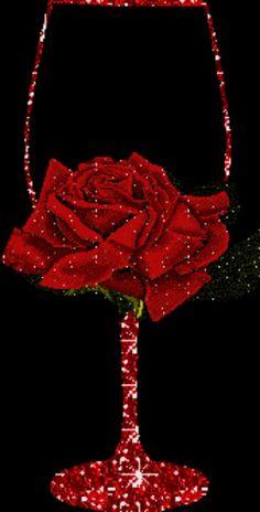Glitter wijnglas met roos