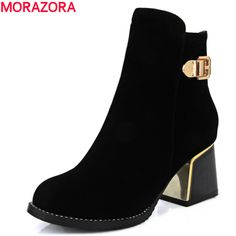 fashion 2017 hot sale top quality pu nubuck leather ankle boots med heel round toe solid black leisure women shoes
