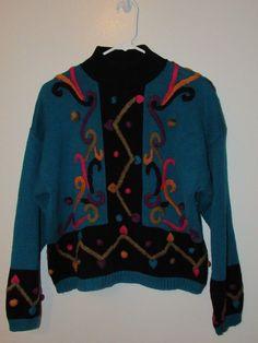 Vintage Rebecca Stone Sweater Sz M Mock Turtleneck Tacky 80s Retro Poms Chunky #RebeccaStone #Collared