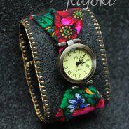 Zegarek góralski zielono złoty