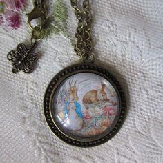 jewelry necklace Beatrix Potter Tale Peter Rabbit bunny classic novel nursery rhyme kids children girls teen birthday gift teacher animals by Rosebudbabydesigns on Etsy