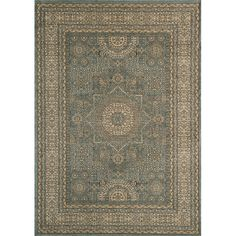 Inspired by Persian textiles and antique rugs, this lovely rug is power-loomed of polypropylene, with machine finishing. This beautiful rug features beautiful hues of blue with gold and beige.