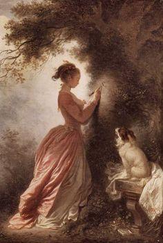 Jean Honore Fragonard 1732-1806 FR , Dirigió su temática a obras con temas de moda que representaban escenas de amor y placer en la corte, gracias a los patrones del rey Luis XV, así, en sus pinturas se aprecian escenas de amor y voluptuosidad.