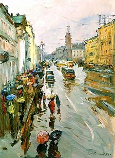 Arseny Semionov — Nevsky Prospect in the rain. 1983. Oil on board, 80 x 60 cm / #SaintPetersburg