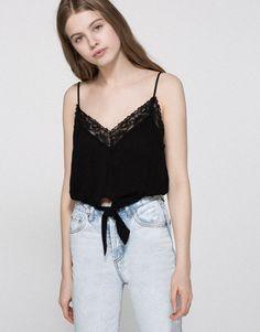Pull&Bear - mujer - tops - top lencero anudado - negro - 05470326-V2016