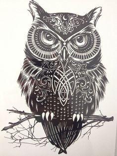 Black And White Owl Art Sticker Tattoo