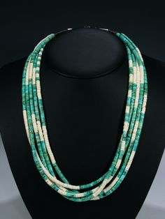 "Native American Indian Turquoise 5 Strand Necklace  Stones: Shell and Turquoise with Heishi  Necklace is 25"" in total length  Suggested Retail $795.00 / Your Price: $597.00"