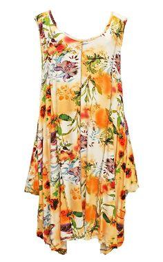 AKH Fashion Lagenlook zauberhaftes Sommerkleid Tunika in orange große Größen bei www.modeolymp.lafeo.de