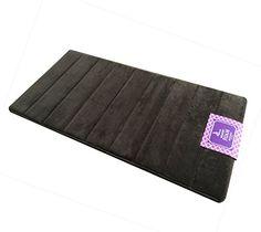 Best Token Coral Fleece Memory Foam Bath Rug Stripe Pattern Mat (Brown 16x32-inch)