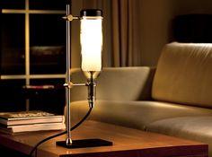 reclaimed wine bottle lamp: Lab