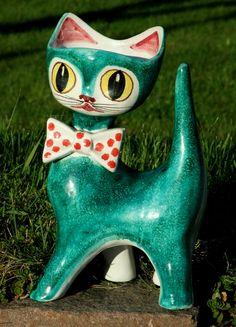 Large Cat Vase Italy Studio Pottery Deruta Fantoni Bitossi Retro Kitsch | eBay